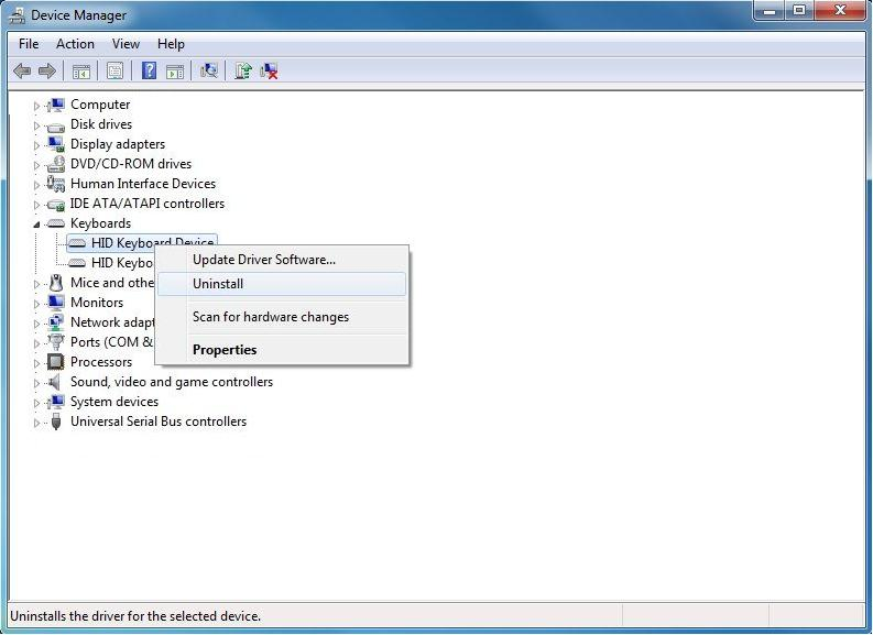 Dezactivare tastatura din Device Manager