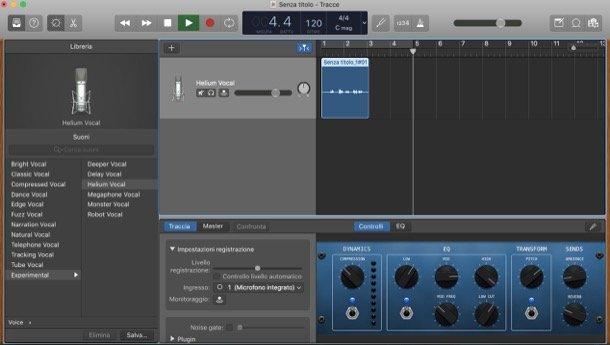 GarageBand modifica vocea programe