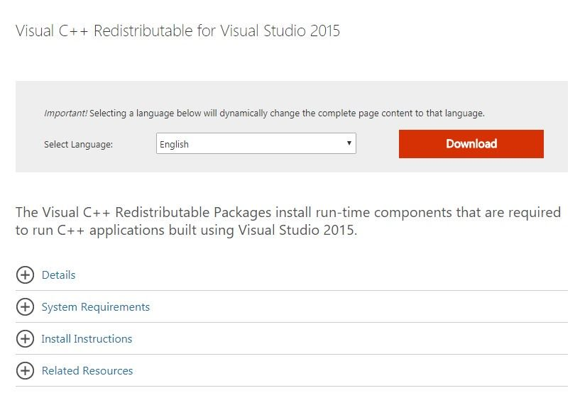 Visual C ++ Redistributable