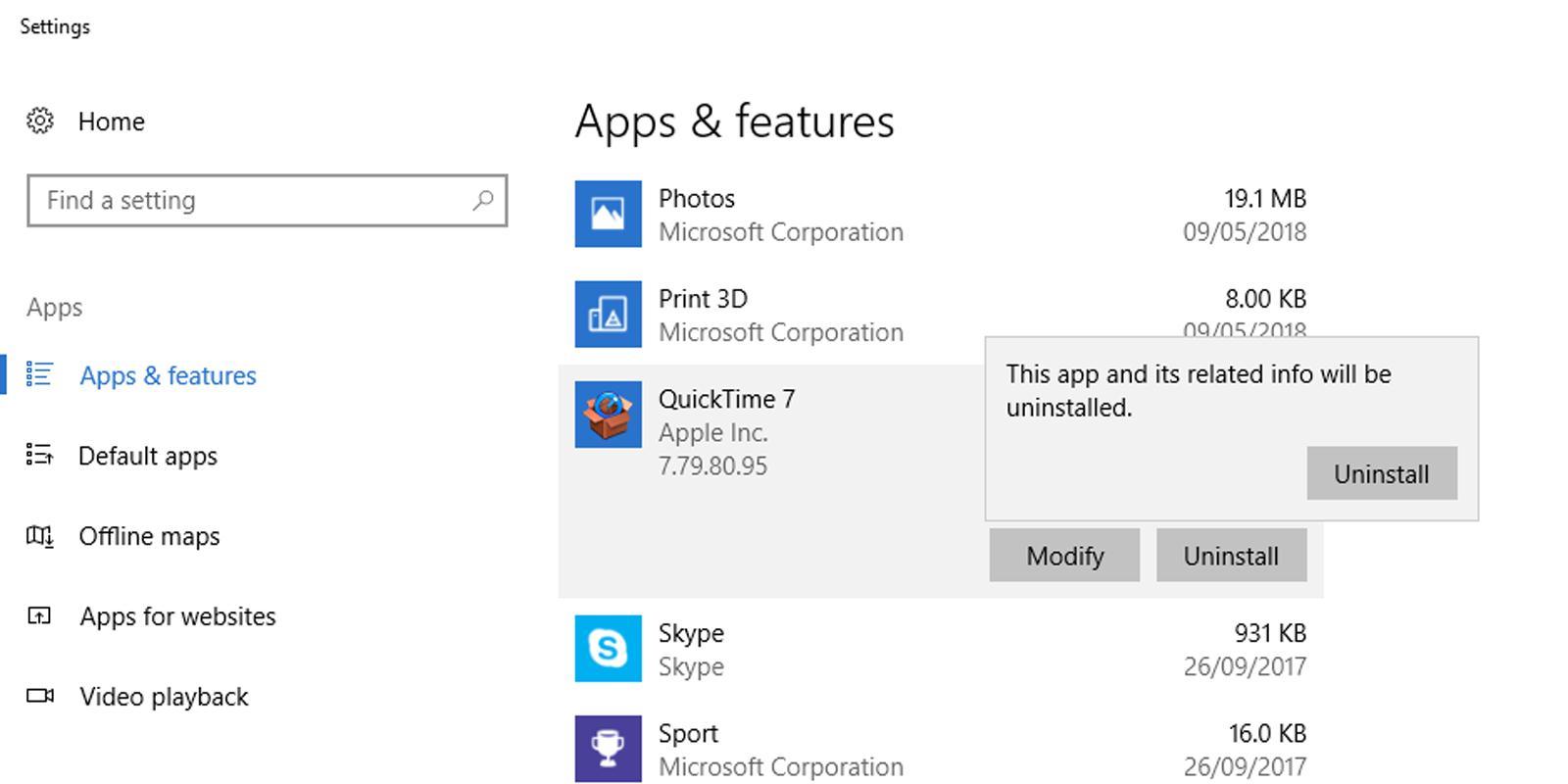 dezinstalezi aplicații și programe din Windows 10