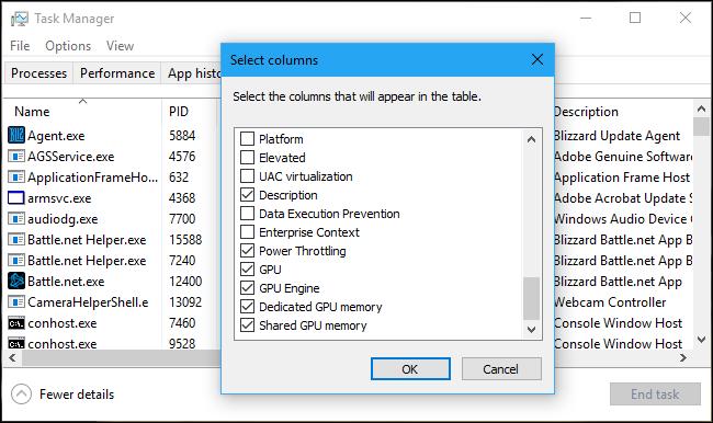 onitorizează utilizarea GPU-ului în Managerul de activități