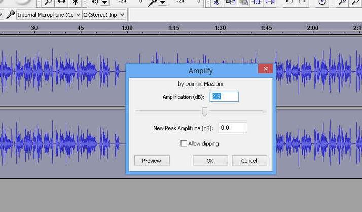 Audacity amplificator audio