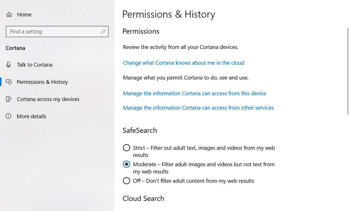 Ce știe Cortana setari
