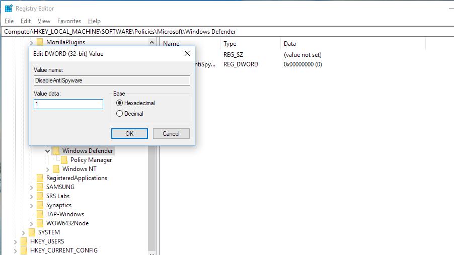 Cum dezactivezi permanent Windows Defender Value data