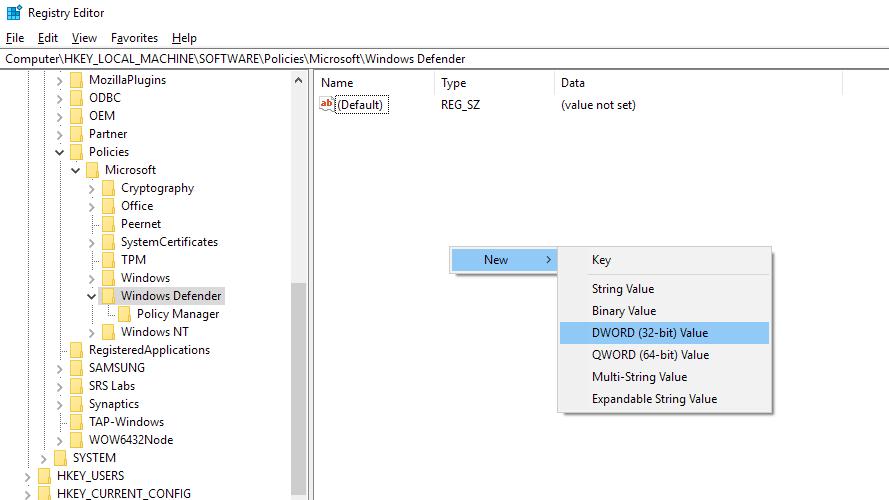 Cum dezactivezi permanent Windows Defender noul fisier