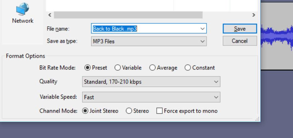 Editare fișiere audio audacity bitrate mp3