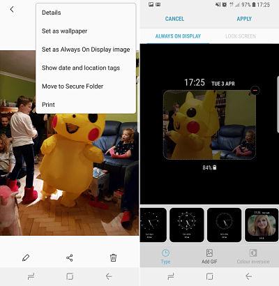 GIF-uri pe ecran pe Samsung Galaxy S8, S9 și Note 8