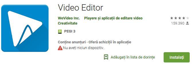 Aplicații pentru a face video cu poze WeVideo