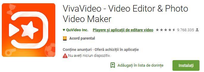 Aplicații pentru a face video cu poze pe Android sau iPhone Vivavideo