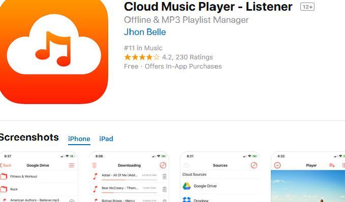 Aplicații pentru ascultat muzica offline pe Android și iPhone Cloud Music Player