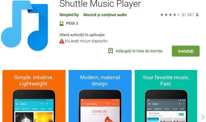 Aplicații pentru ascultat muzica offline pe Android și iPhone Shuttle Music Player