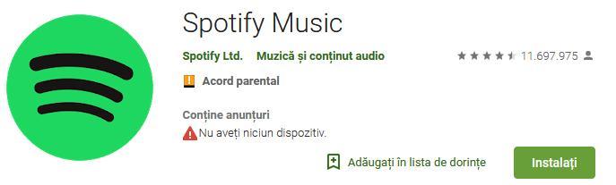 Aplicații pentru ascultat muzica offline pe Android și iPhone Spotify