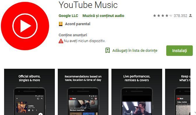 Aplicații pentru ascultat muzica offline pe Android și iPhone YouTube Music