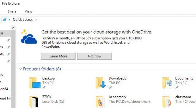 Blochează - dezactivează reclamele din Windows 10 file explorer