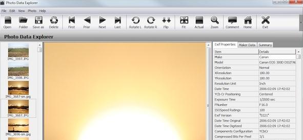 Editează datele EXIF din Imagini cu Photo Data Explorer