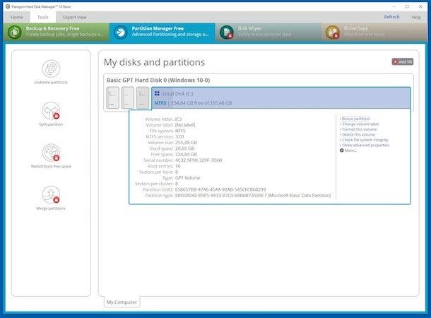 Programe gratuite de partiționare HDD Paragon Partition Manager Basic
