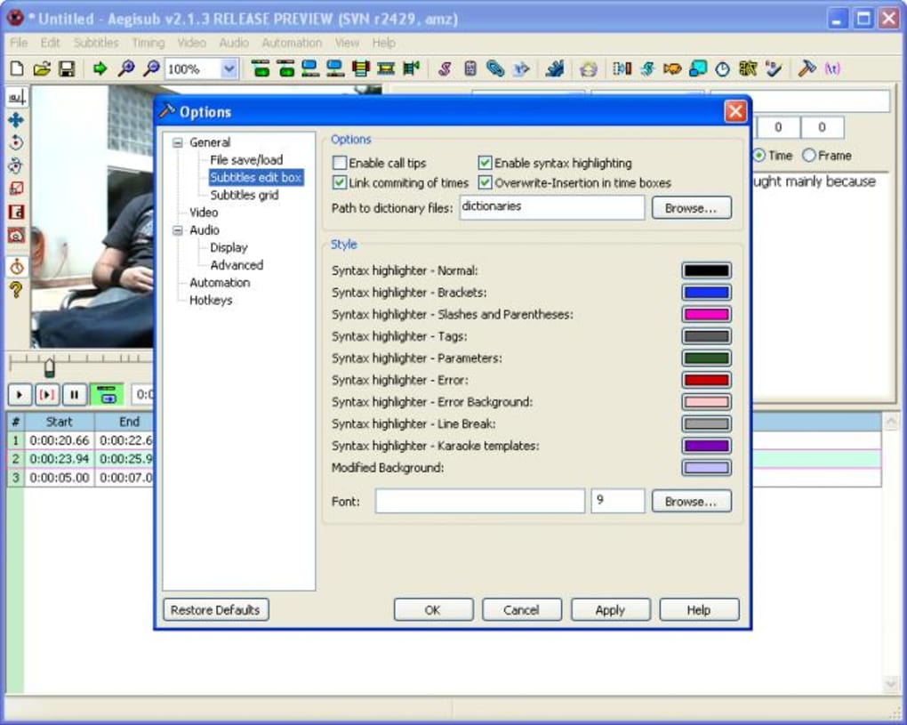 Programe pentru subtitrări filme Aegisub Advanced Subtitle