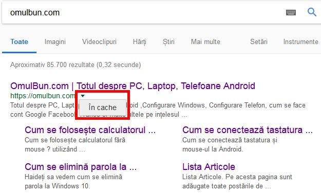 Rezolvare eroare 404 Google cache