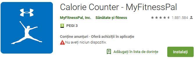Aplicații de calculat calorii pentru Android sau iPhone Calorie Counter