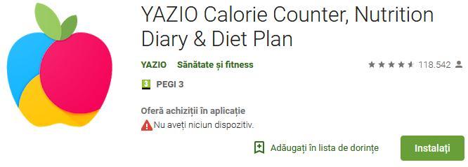 Aplicații de calculat calorii pentru Android sau iPhone Yazio