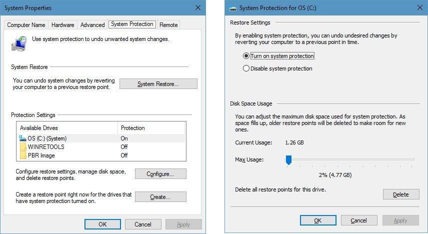 Eliberare spațiu de stocare pe PC cu Windows 10 punctele de restaurare