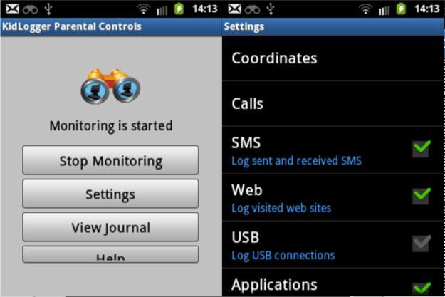 Aplicații de ascultat telefonul gratis pe Android sau iPhone KidLogger setari