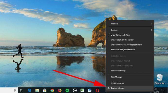 Ascunde bara de activități în Windows 10 bara goala