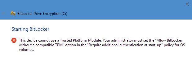 Criptare date pe hard disk în Windows 10 cu BitLocker Pc-ul nu este compatibil cu Bitlocker