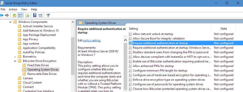 Criptare date pe hard disk în Windows 10 cu BitLocker gpedit computer configuration