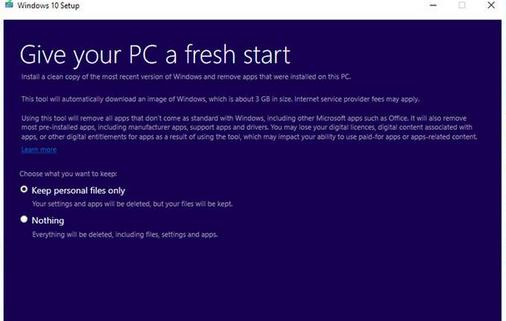 Cum dezinstalezi aplicațiile preinstalate în Windows 10 windows refresh