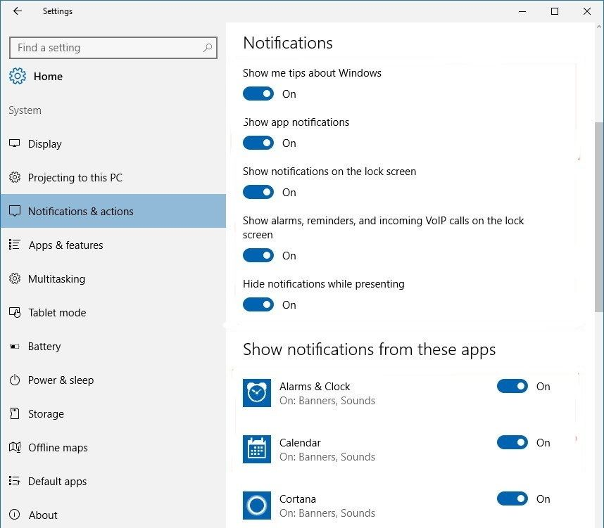Dezactivare notificări în Windows 10 pe PC sau laptop setari notificari