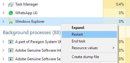 Rezolvare meniul Start din Windows 10 nu funcționează task manager