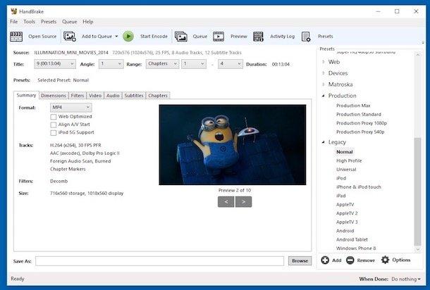 Programe de convertit video DVD în MP4 pe PC HandBrake