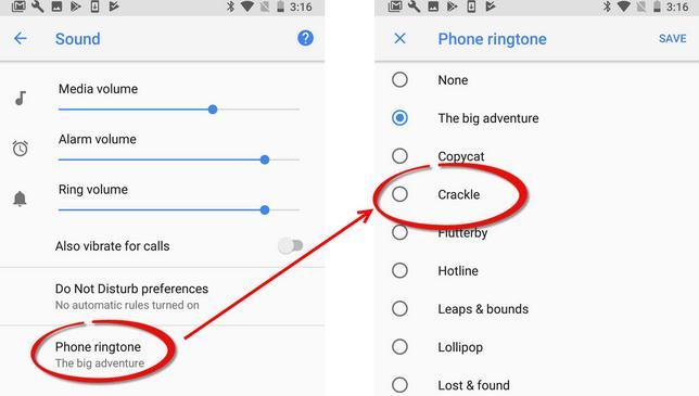 Setare ton de apel (ringtone) pentru telefon Android meniul