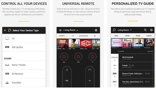 Aplicații pentru telecomanda telefon Peel Smart Remote