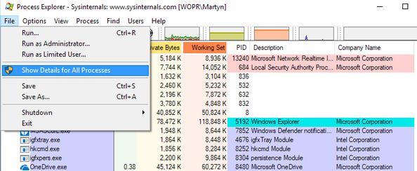 Cum se șterge fișiere sau foldere care nu se șterg Process Explores