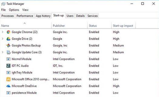 programele din startup Windows 10