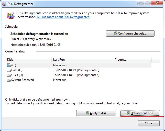 Defragmentare hard disk Windows 1087 PC sau laptop procesul de defragmentare