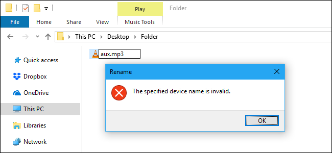 În Windows 10 nu se poate folosi aceste nume de fișiere mp3 txt