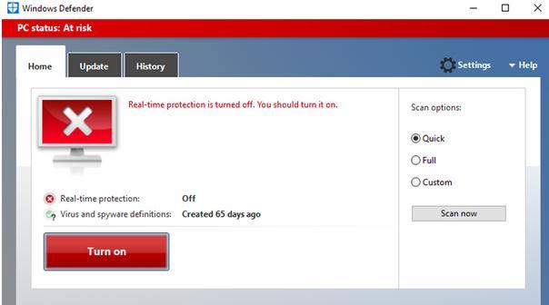 Activare sau dezactivare Windows defender Windows 10 aplicatia