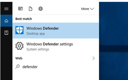Activare sau dezactivare Windows defender Windows 10 meniu