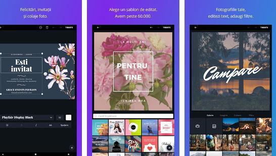 Aplicații de făcut pliante fluturași Android sau iPhone Canva