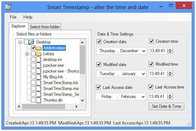Modifică marcajul temporal timestamp la foldere și fișiere