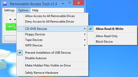 Oprește scrierea, citirea, sau detectarea unităților USB