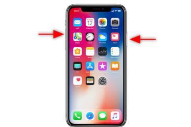 Print screen captură de ecran iPhone X butonul de pornire si volum