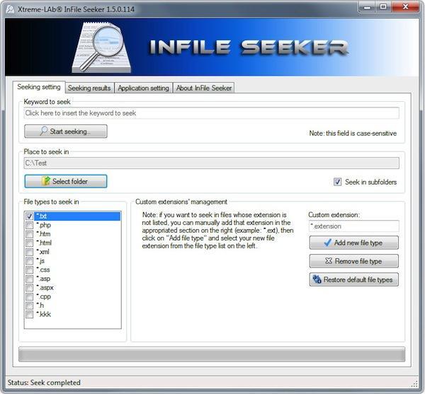 Program de căutat cuvinte în TXT, PHP, XML sau HTML