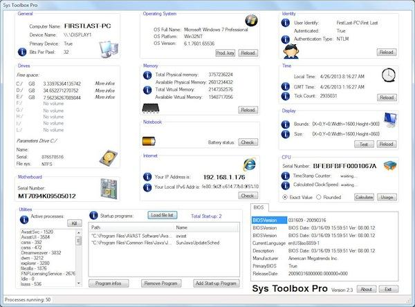 Program de identificare componente pe PC sau laptop