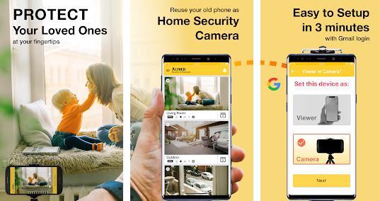 Aplicații pentru camere de supraveghere Android Alfred Home Security Camera