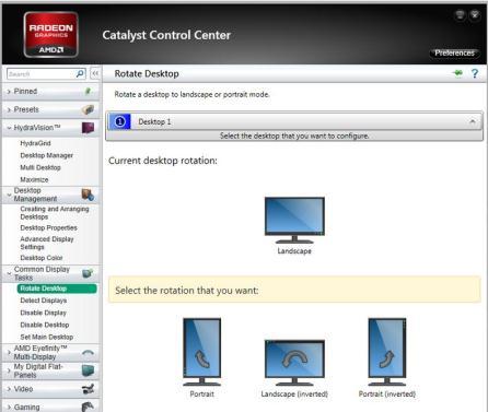 Rotește ecranul placă video AMD
