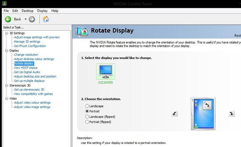 Rotire ecran placă video Nvidia